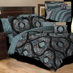 New Damask Black Teal Arabesque 10pc All Reversible Comforter Set King Size Bed | eBay