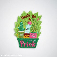 Dont be a Prick Patch is 6 x 8 cm It is super cool, colorful and perfect for Cactus lover! When dispatched, the patch will be secured with cardboard and