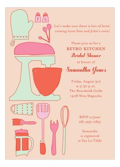Bridal shower invite with a retro kitchen theme as she will be stocking her new kitchen. Funky illustrations and retro colours make this invitation. Retro Bridal Showers, Kitchen Shower, Retro Housewife, Retro Fabric, Festa Party, Shower Inspiration, Kitchen Themes, Bridal Shower Invitations, Invites