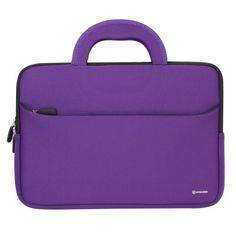 Evecase 10.6~12 inch Tablet Ultra-Portable Neoprene Zipper Carrying Case with Accessory Pocket - Purple/Black Evecase