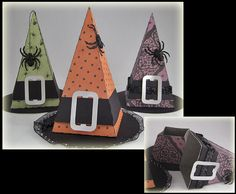 I created three of these sweet little Witch Hat treat boxes designed by SVGCuts The bottom photo shows where the hat opens to reveal a space for the hidden treat I plan to make some additional styles of boxes for my son s class so there is a variety to ch Dulces Halloween, Halloween Infantil, Manualidades Halloween, Halloween Favors, Halloween Tags, Holidays Halloween, Halloween Decorations, Halloween Paper Crafts, Holiday Crafts
