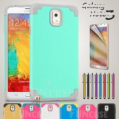Shockproof Rugged Hybrid Rubber Hard Cover Case for Samsung Galaxy Note 3 / Film