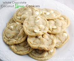 White Chocolate Coconut Lime Cookies by creationsbykara. These cookies are soft, chewy, and delicious. A perfect spring cookie! #cookie #recipe #lime