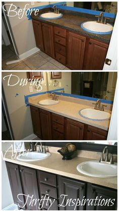 Melamine Bath Vanity Refinished Without Stripping Sanding