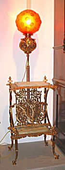 This is an unusual American Brass Victorian Floor Lamp, with onyx shelves, there is a magazine rack on the base, with a signature. The lamp has been restored rewired has a period red globe Novelty Lamp, Floor Lamp With Shelves, Floor Lamp, Victorian Lighting, Victorian Floor Lamps, Vintage Lighting, Victorian Furniture, Light Project, Ornate Furniture