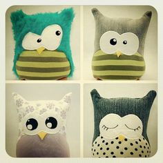 Love the eyes on the top left owl! Sewing Toys, Sewing Crafts, Sewing Projects, Baby Couture, Couture Sewing, Softies, Sewing For Kids, Diy For Kids, Kids Pillows