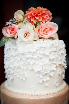 Handmade Sugar Flower and Fresh Flower Wedding Cake | Michelle Marie's Patisserie | Sarah Marcella Photography | TheKnot.com