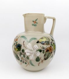 Antique Harrach 1880-1890 Pitcher Opaque Milk Glass with Enamel Jug Bohemia  #Harrach