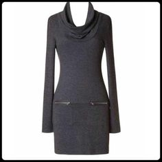 "✨ CHARCOAL KNIT TURTLENECK SWEATER DRESS✨ Brand new. Purchased from a posh member and it doesn't fit. :( This dress has 4"" stretch to it. Large- B:16"" W:14"" L:31"" Double Zero Dresses Long Sleeve"