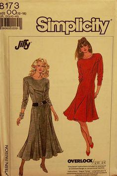 "Knit Dress, Flared  - 1980's  - Simplicity Jiffy Pattern 8173   Uncut  Sizes 12-14-16-18  Bust  34-36-38-40"""