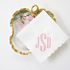 New Engraved Monogram Design for handkerchiefs. Available in 12 ladies handkerchief choices and 2 men's. More than 30 thread colors.