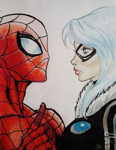 Black Cat x Spider-Man Spiderman Black Cat, Spiderman Girl, Black Cat Marvel, Amazing Spiderman, Spider Man 2, Spider Gwen, Spider Verse, Anime Art Girl, Marvel Comics