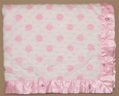 Carters Just One Year Pink White Thank Heaven For Little Girls Minky Dot Blanket #Carters