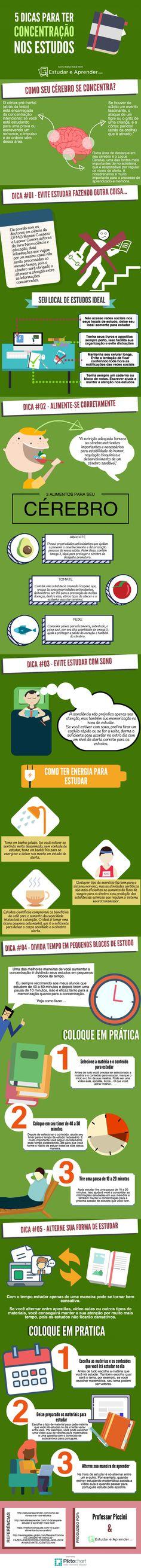 5 dicas para ter concentração nos estudos (Infográfico) - Estudar e AprenderFacebookGoogle+InstagramTwitterYouTube