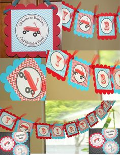 Red Wagon Radio Flyer birthday PARTY PACK by sweetshoppepaperie