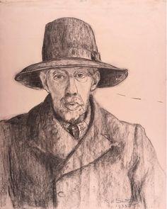 "Twentieth Century British Art by Rudolph Sauter: ""Arthur William Symons (poet) British Poets, Charcoal Art, Male Portraits, National Portrait Gallery, The Twenties, Drawings, Modern, Sketch, Portrait"