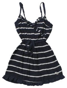 Amazon.com: Abercrombie & Fitch Women's Ruffled Dress (Navy Blue Stripe): Clothing