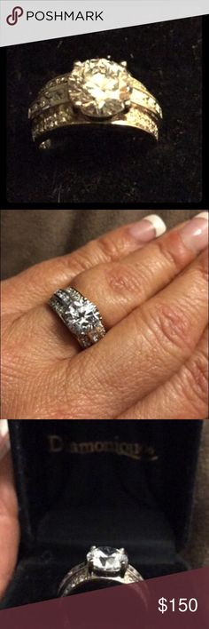 DIAMONIQUE RING Diamonique ring...BEAUTIFUL!!! Never worn, and the photos do not show the beauty!!! I ALWAYS ACCEPT REASONABLE OFFERS!!! 🚫NO LOWBALLING💜PLEASE BE KIND AND HAPPY POSHING💜 Diamonique Jewelry Rings