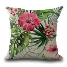 Butterfly Flower Tropical Leaves Print Cushion Cover , Multicolor(Cotton, Graphic Print)