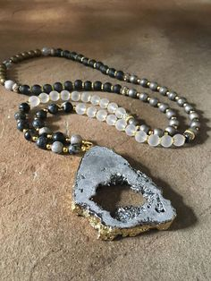Silver Druzy Gemstone Necklace 33 Long Beads Gray