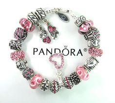 Authentic Pandora Silver Charm Bracelet with European Charm Beads Mom Daughter #Pandoralobsterclaspclaw #European
