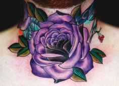 Purple rose throat piece by Eva Huber #InkedMagazine #purple #rose #throat #neck #tattoo #tattoos #INKED