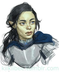 kiikiibee: there was talk about continuing the D&D campaign that I played Delia in, and well, we all decided to play our character's kids.Playing around with a design for Tova, a (¼) orc cleric.