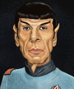 My brother, Emmett, loves Star Trek. Funny Caricatures, Celebrity Caricatures, Spock, Cartoon Faces, Funny Faces, Satire, Create A Comic, Star Trek Characters, Caricature Drawing