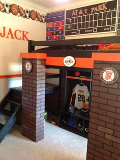 If you or your family are huge baseball fans, why not create a baseball themed bedroom? There are so many different items available to create a super cute Bedroom Themes, Kids Bedroom, Bedroom Ideas, Boy Bedrooms, Baseball Bedroom Decor, Basketball Bedroom, Stair Plan, Diy Bed, Do It Yourself Home