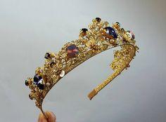 Lilac Wedding Crown Bridal Tiara Gold tiara Swarovski Crystal