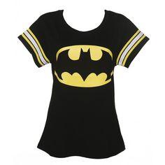 Ladies Black DC Comics Batman Logo Varsity T-Shirt from For Love Money ($31) ❤ liked on Polyvore featuring tops, t-shirts, shirts, batman, black tee, black t shirt, logo tops, t shirts and black shirt