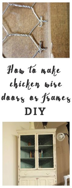 Chicken wire door DIY www. Chicken wire door DIY www. Furniture Projects, Furniture Makeover, Diy Furniture, Diy Projects, Vintage Furniture, Trendy Furniture, Outdoor Projects, Furniture Making, Farmhouse Kitchen Cabinets