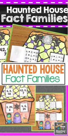 This is a perfect way to engage your students in multiplication and division fact families. It also makes a wonderful bulletin board during the month of October! Students will color their Halloween Haunted House and then use the factors/products to complete fact families for each window. Math Fact Practice, Fact Families, Multiplication And Division, Halloween Haunted Houses, Math Facts, Center Ideas, Elementary Math, Math Resources, Math Centers