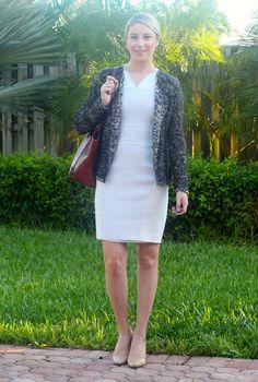 Elie Tahari white tweed dress, Ann Taylor boucle moto jacket