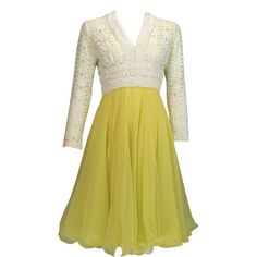 Lillie Rubin - Lace & lemon chiffon cocktail dress 1960s.