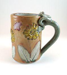 Ceramic Large Mug / Pottery Coffee Tea Mug / Sunflowers / Butterflies / Frog / Hand Built / 444