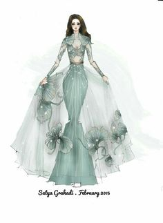 Fashion Illustration Speed Painting with Ink - Drawing On Demand Dress Design Drawing, Dress Design Sketches, Fashion Design Sketchbook, Fashion Design Drawings, Fashion Sketches, Costume Design Sketch, Fashion Drawing Dresses, Fashion Illustration Dresses, Dress Illustration