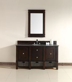 """James Martin 800-V60S-BNM-TBR Madison 60"""" Burnished Mahogany Single Vanity with Tropical Brown Stone Top"""