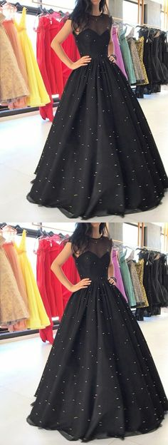 Vintage Ball Gown Round Neck Tulle and Satin Black Long Prom Dresses Evening Party Dresses with Beading Black Evening Dresses, Black Prom Dresses, Ball Dresses, Homecoming Dresses, Evening Gowns, Evening Party, Black Gowns, Dresses Short, Trendy Dresses