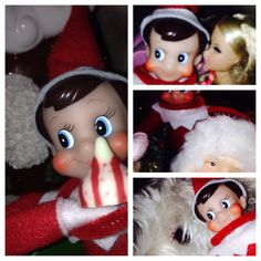 "Elf on the Shelf ideas. Our elf, Jolly, took several ""selfies"" with my phone last night. Here are just a few."