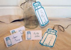 Mason Jar Wedding Place Cards & Table Numbers - The Graphics Fairy