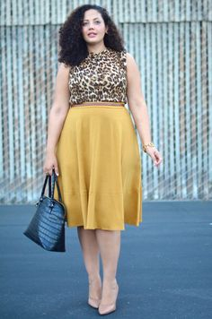Girl With Curves: leopard top and mustard skirt Curvy Girl Outfits, Plus Size Outfits, Mustard Skirt, Modelos Plus Size, Girl With Curves, Curvy Girl Fashion, Plus Size Fashion For Women, Plus Size Model, African Fashion