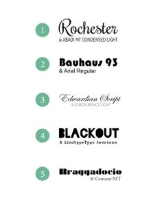 Design Fixation: {Typeface Tuesday} 5 Fantastic Font Combinations  ~~ {9 free and 1 paid font w/ easy download links}