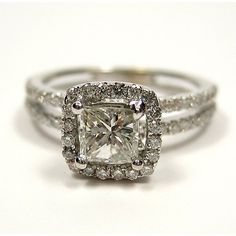 1.20ct Antique Vintage Style Square PRINCESS Diamond ENGAGEMENT... ($2,075) ❤ liked on Polyvore