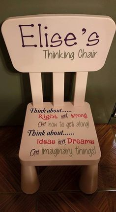 It is a much more positive approach to the time out chair. Sometimes we just need to stop and think, so we're able to understand our action. Thinking Chair, Time Out Chair, Diy And Crafts, Crafts For Kids, For Elise, Oversized Chair And Ottoman, Painted Chairs, Diy Chair, Kids And Parenting