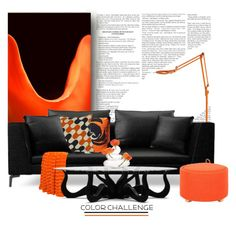 """""""Orange and Black.."""" by vkevans ❤ liked on Polyvore featuring interior, interiors, interior design, home, home decor, interior decorating, Spineless Classics, Pablo, Charlene Mullen and Dot & Bo"""