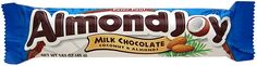 "The ""Almond Joy"" title has a sans serif font and small decoration in the form of a picture for one letter, while the banner of font below it just seems to be serif. The serif isn't extremely prominent though. The top text includes upper and lower case letters, and the bottom text is in all caps. There are differences between the fonts used for each portion of the wrapper design, but they work together well making them a contrasting relationship."