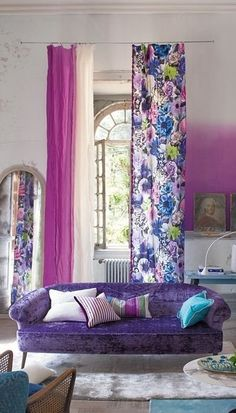 Inspirational Curtain Color for Purple Wall