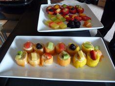 Banana slices wrapped in thin slices of cantaloupe/mango. YUM.