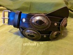 Fine Custom Leather Concho Belt Native American by unholEyclothing